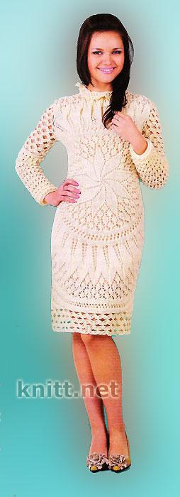 Ажурное вязаное платье (вязание по кругу)
