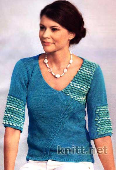 Бирюзовый пуловер с коротким рукавом