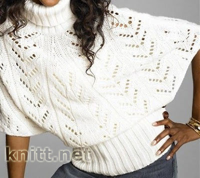 Меланжевый пуловер-пончо