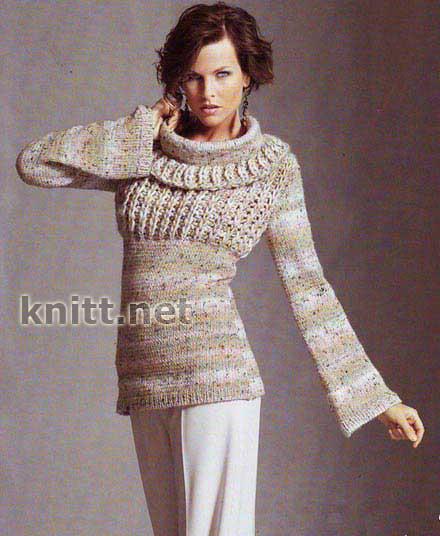 Пуловер с широким воротом