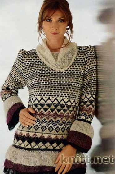 Пуловер с воланами и жаккардом