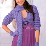Сиреневый комплект: шапочка, болеро, шарф и варежки