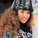 Вязаные шапка и шарф (поперечное вязание)