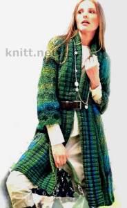 Вязаное пальто сине-зеленого цвета