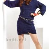 Вязаное платье синего цвета