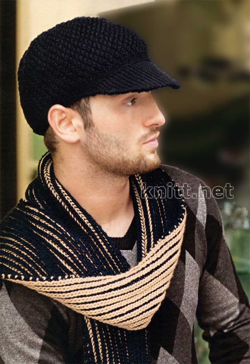 вязаные спицами кепка и шарф для мужчины