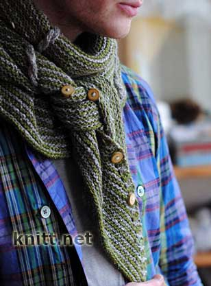 Вязаный мужской шарф-платок с пуговицами