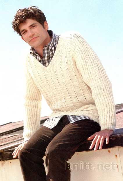 Вязаный спицами пуловер BILL