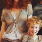 Дружная семья: вязаные джемпер для папы и сына и жакет для мамы