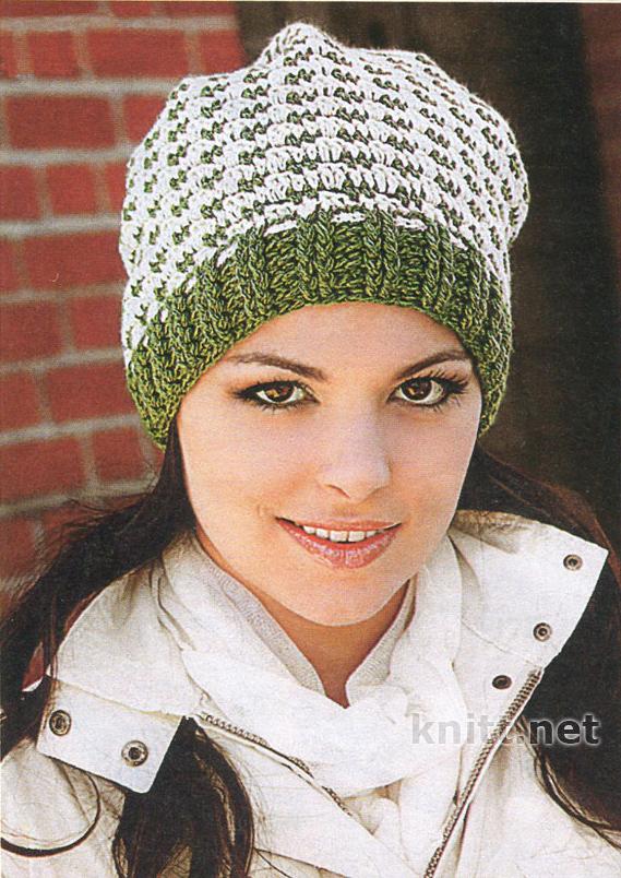 Для вязания шапки-шарфа необходимо: 100 г пряжи (100% акрил) кремового цвета и 50 г тонкой пряжи (100...