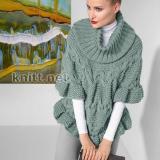 Вязаный спицами пуловер-пончо