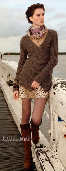 пуловер с крупной косой
