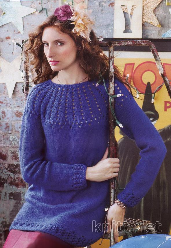 пуловер с ажурной кокеткой