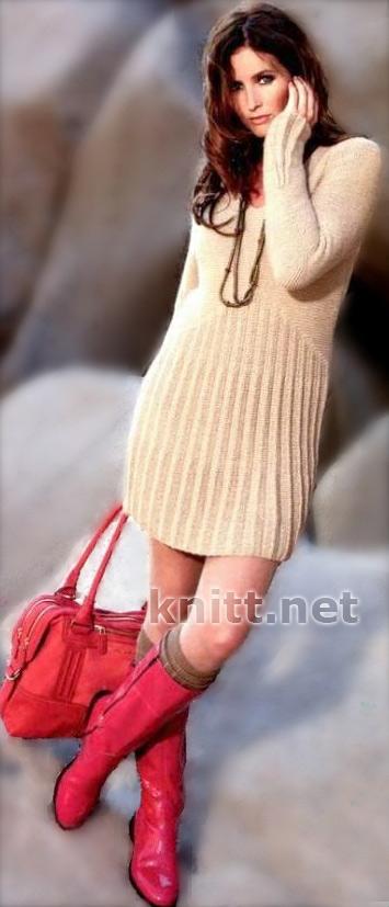 Красивое маленькое платье спицами