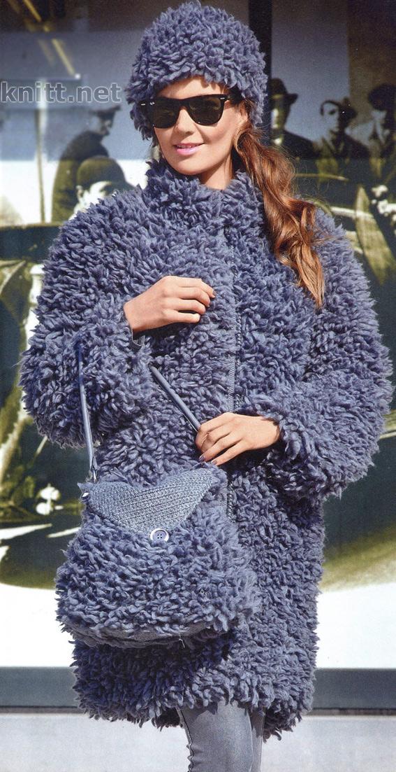 Пальто, шапка и сумка спицами