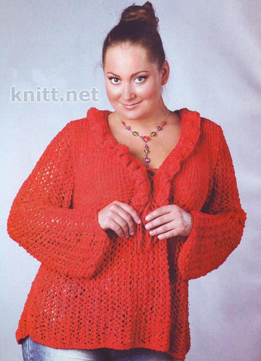 Вязаный красный пуловер с рюшами