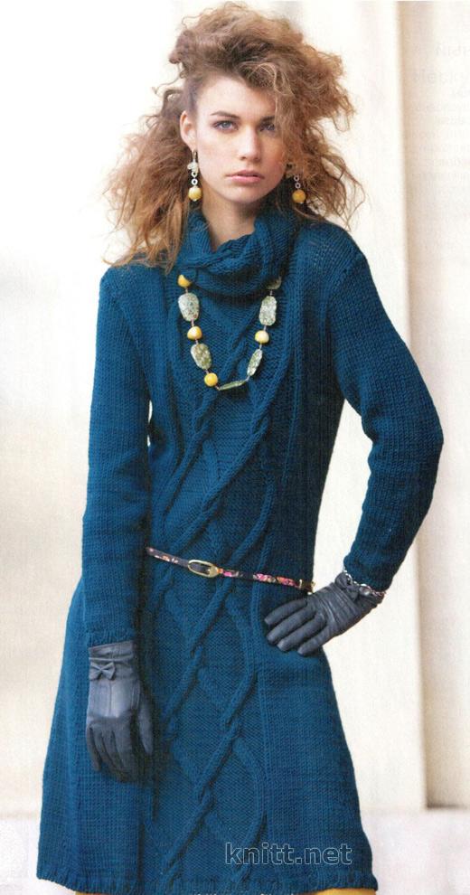 Бирюзовое платье с аранами