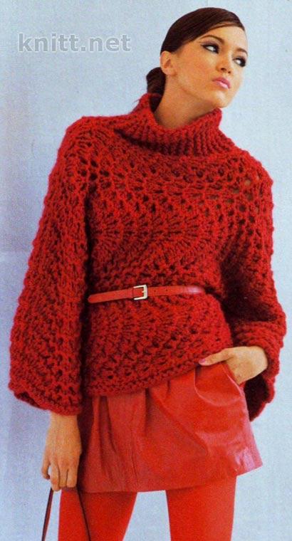 Пуловер связаный поперек
