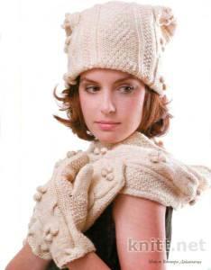 комплект: шапочка, варежки и шарф