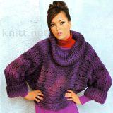 Связанный спицами поперёк пуловер лилового цвета