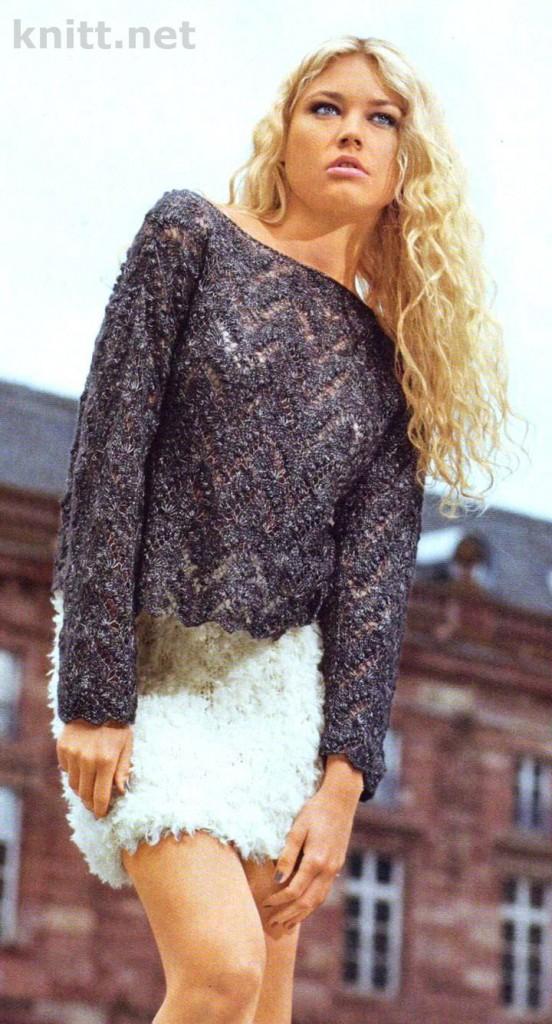 ажурный пуловер и юбка
