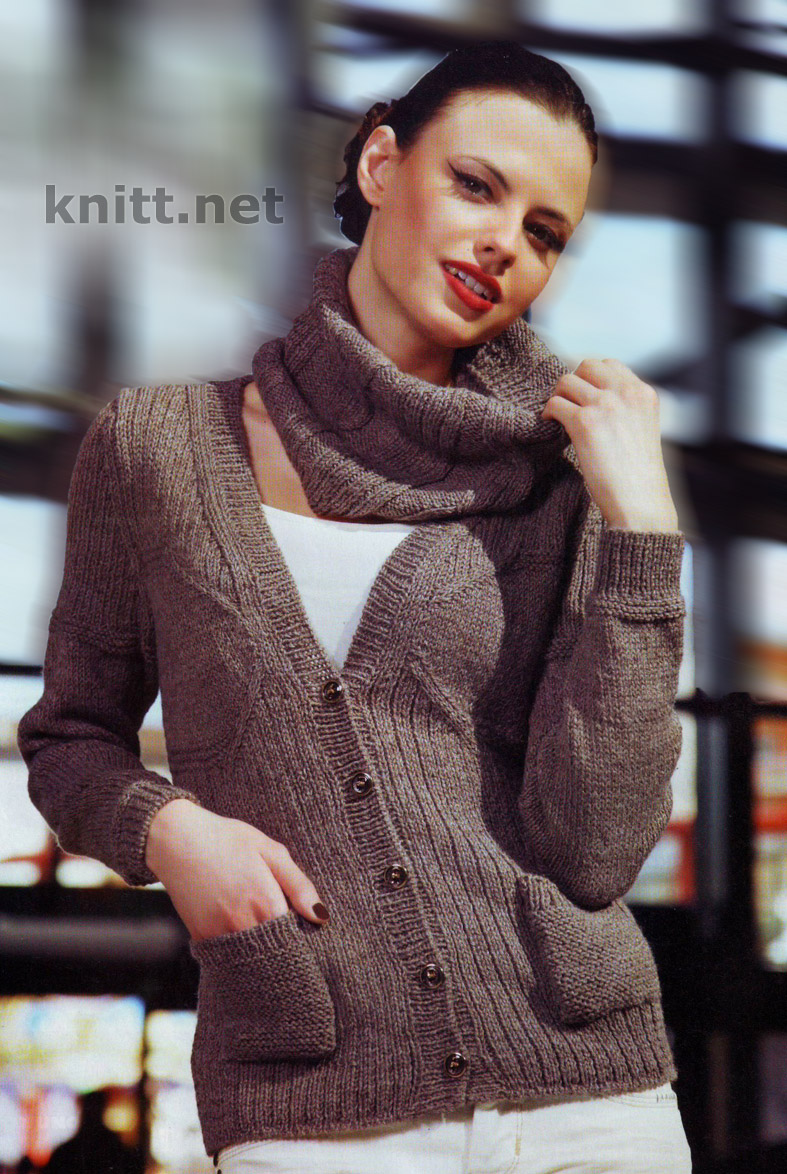 Жакет и шарф-хомут вязаный спицами