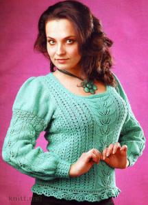 Вязаный бирюзовый пуловер
