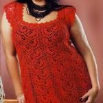 Красное ажурное платье крючком (для полных)