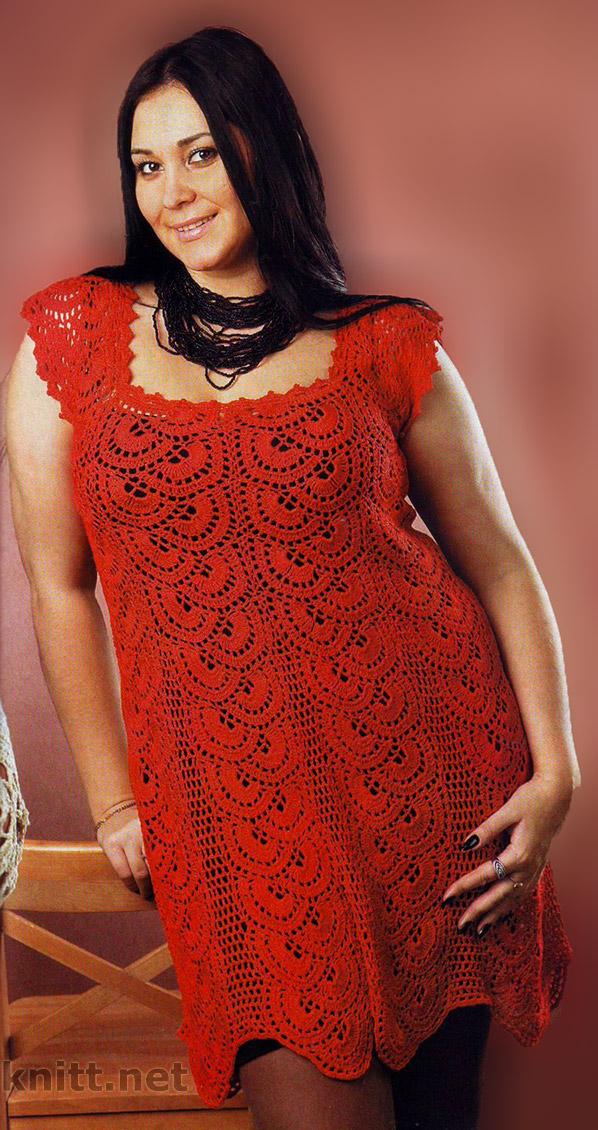 Красное ажурное платье крючком