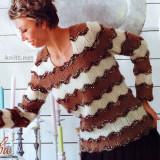 Вязаный пуловер с волнистым узором