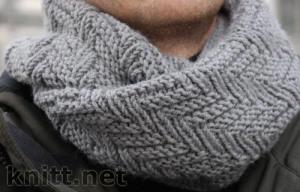 Вязаный шарф-снуд для мужчины