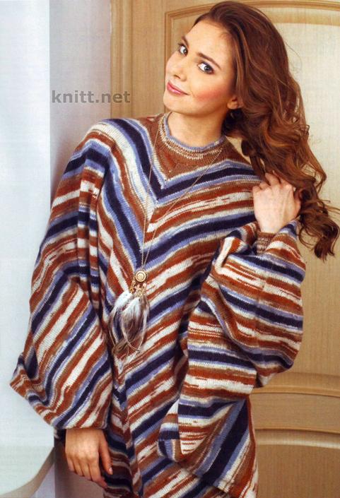 Полосатый вязаный пуловер