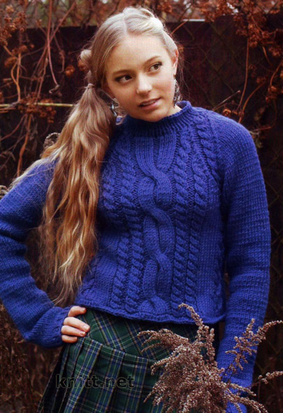 синий укороченный пуловер