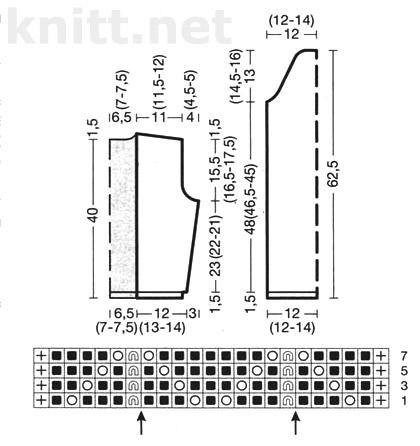 схема вязания, выкройка Короткий ажурный жакет спицами