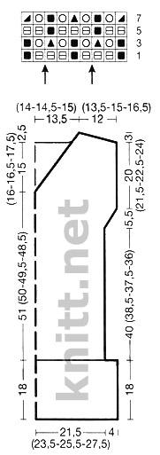 Вязаная спицами летняя туника с коротким рукавом, схема и выкройка