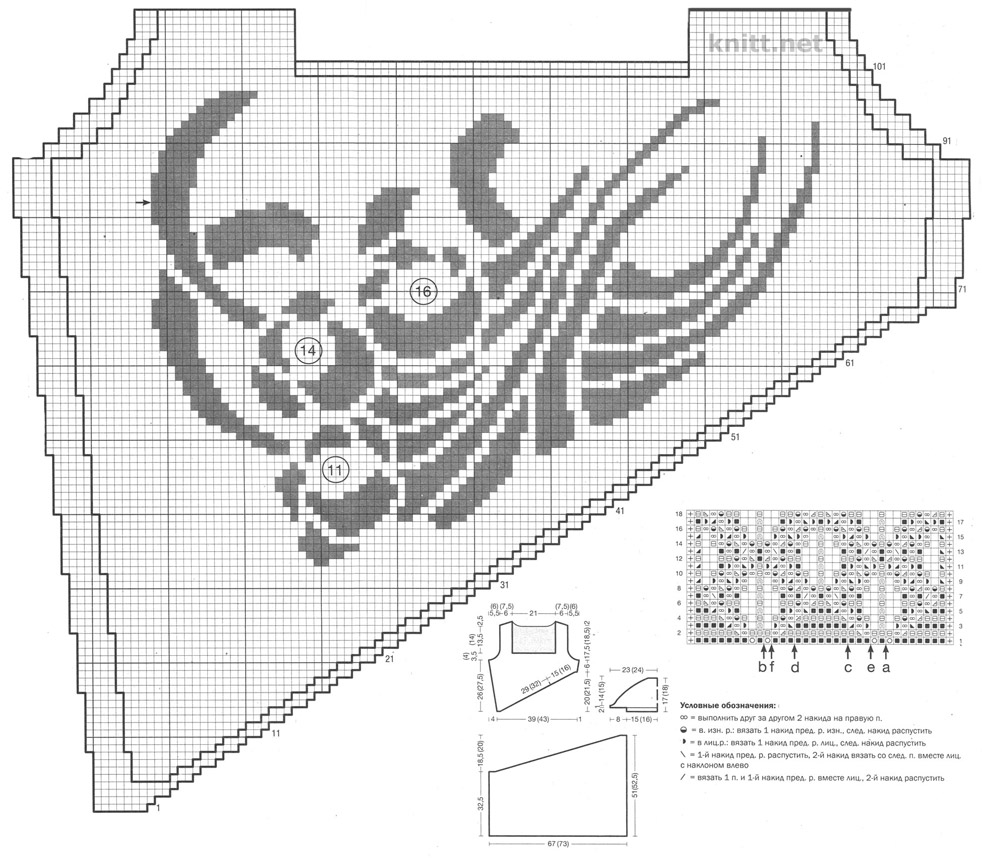 Вязаная  спицами туника с ажурным и жаккардовым узорами схема и выкройка