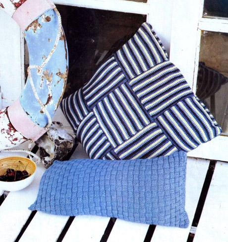 Вязаные чехлы для подушек в стиле пэчворк