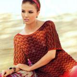 Вязаный спицами ажурный пуловер