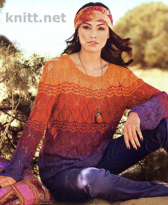 Вязаный спицами пуловер (узор из ажурных ромбов)