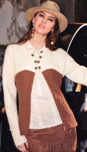 """двухцветный жакет с длинным рукавом связан спицами из пряжи Bremont """"Chiara Sport"""""""