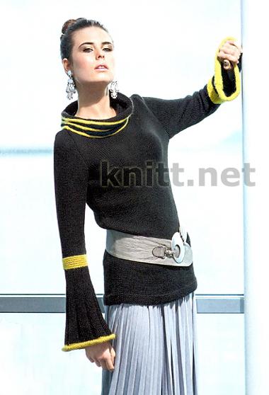Чёрный свитер с жёлтыми вставками связан спицами, рукава-колокольчики, резинка, декоративные убавки и прибавки- украшают эту модель.