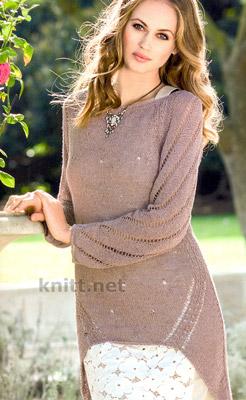 Платье в стиле Couture связано спицами, асимметричная длина, диагональные ажурные узоры
