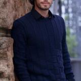 Мужской пуловер - узор шахматы, вязание для мужчин, описание вязания, выкройка, схема вязания,
