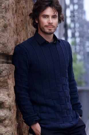 Мужской пуловер - узор шахматы