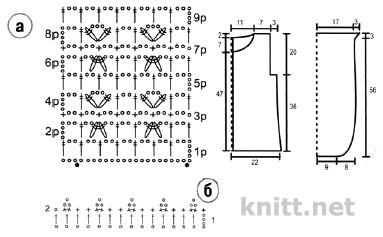 Нежный розовый жакет связан крючком, схема вязания и выкройка