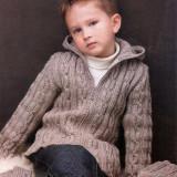 Жакет на молнии и шапочка для мальчика, простой узор, классический крой