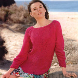 Шикарный пуловер: яркий, эффектный цвет, узор, лучами расходящийся из центра передней части, плюс привлекательное V-образное декольте со стороны спины. Свяжите обязательно!