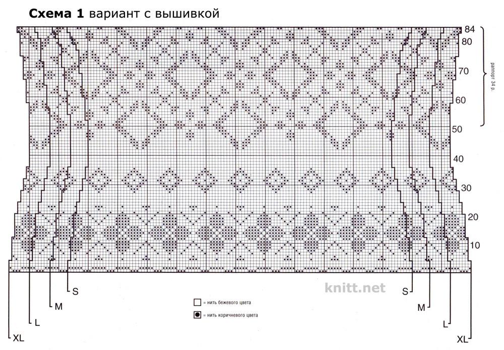 """Вязаная спицами туника """"Ренессанс"""" (2 варианта вязания) 1-й: вышивка узора, 2-й: вязание в технике интарсия,"""