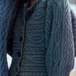 Вязаный спицами жакет (поперечное вязание)