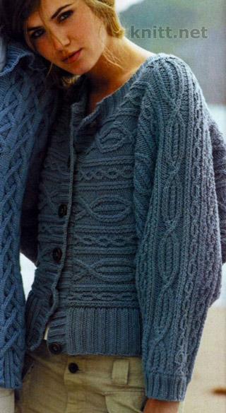 """Чудесный женский жакет умело связан спицами в технике  поперечного вязания """"аранскими узорами"""" и """"жгутами"""". Чудесная вещь отлично будет смотреться как в хлопковой пряже так и в шерстяной."""